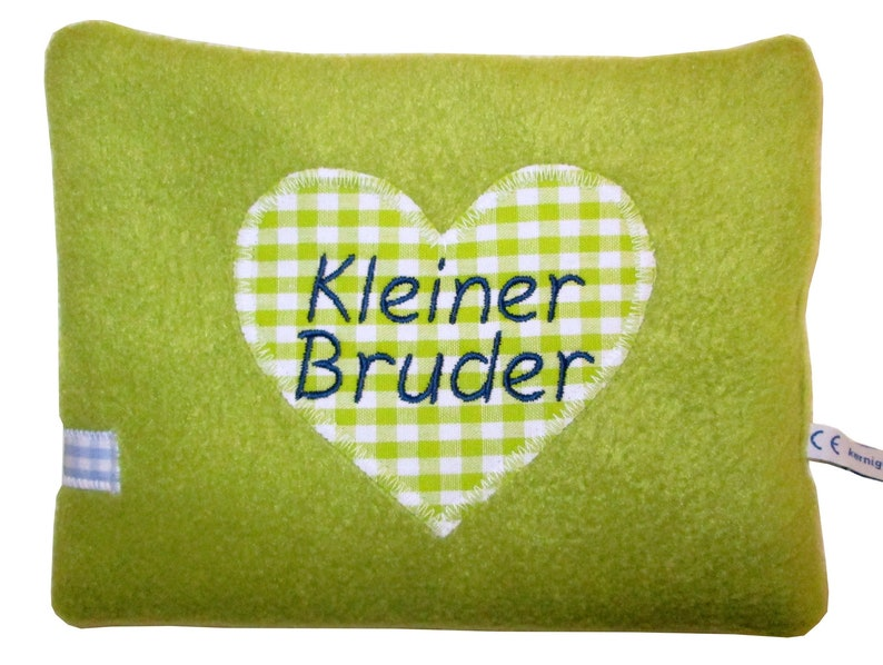 Hearty spelt pillow with embroidering as desired Green