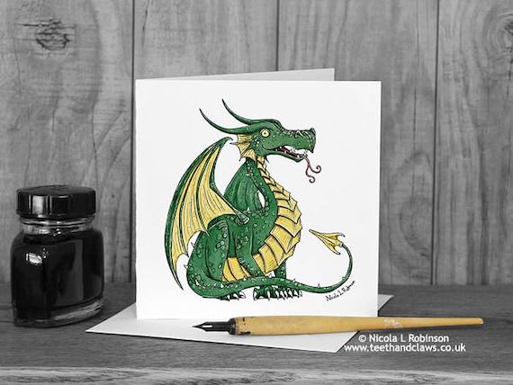 Green Dragon postcard Kids Dragon stationery Post card for children Dragon post card Dragon post Dragon invitation Dragon note card
