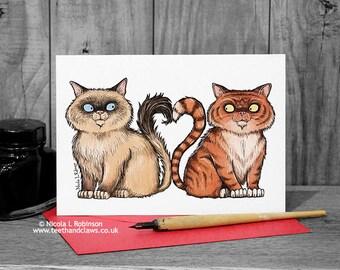 Cat Wedding Card, Cats Anniversary, Cat Lovers Card, Engagement Card, I Love You Card, Cute Cat Card, Persian Cat, Birman Cat, Romantic Card