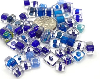 Shades of Orange ORT1 30 Tube beads Small-Medium Size Furnace Glass Cane Beads