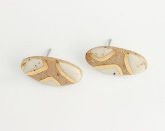Terrazzo Stud Earrings, Gold Stud Earrings, Earthy Ceramic Studs, Oval Stud Earrings, Modern Geometric Earrings, Neutral Stoneware Earrings