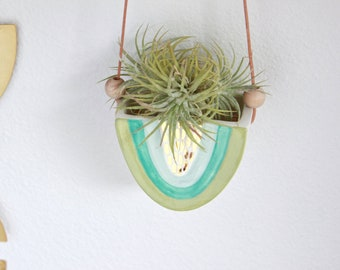 Hanging Rainbow Planter, Indoor Hanging Mini Planter, Clay Reversible Vase, Ceramic Rainbow Wall Decor, Air Plant Holder, Gold Home Decor