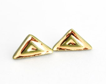 Gold Triangle Earrings, Olive Green Earrings, Gold Stud Earrings, Colorful Ceramic Earrings, Geometric Earrings, Triangle Jewelry, Gold Gift