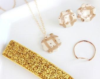 Grid Ceramic Necklace, Flower Necklace Charm, 14k Gold Filled Mini Charm Necklace, Floral Necklace, Geometric Pendant Necklace under 50