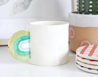 Ceramic Rainbow Mug, Rainbow Handle Mug, Colorful Handmade Ceramic Mug, Cappuccino Mug, Small Mug Pottery, Glazed Mug, White Clay Mug