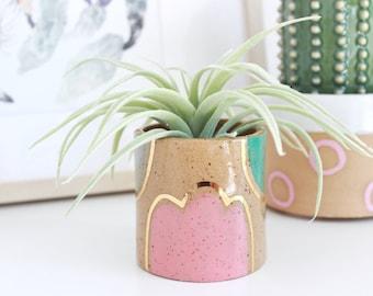 Abstract Ceramic Pot, Ceramic Tumbler, Pencil Holder for Desk, Paintbrush Holder Cup, Colorful Mini Plant Pot, Small Succulent Planter