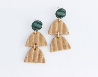 Arch Statement Earrings, Speckled Stoneware Jewelry, Textured Ridge Earrings, Lightweight Statement Earrings, Ceramic Dangle Earrings