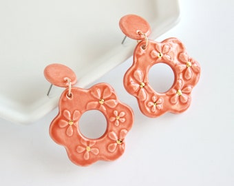 Orange Flower Earrings, Lightweight Statement Earrings, Gold Floral Earrings, Stamped Ceramic Earrings, Floral Gifts, Flower Lover Gift