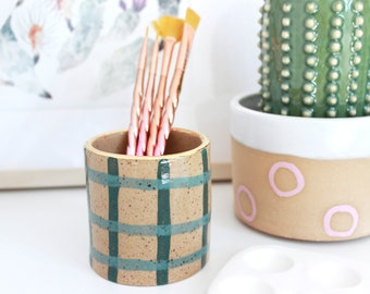 Paintbrush Holder Cup, Geometric Air Plant Holder, Ceramic Grid Planter, Pen Holder for Desk, Small Succulent Planter, Modern Indoor Planter