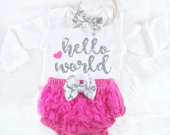 Baby Shower Gift Hello World Pink and glitter Hospital Coming Home Take Home Outfit Baby Girl Outfit Newborn Girl Outfit Baby Girl Clothes