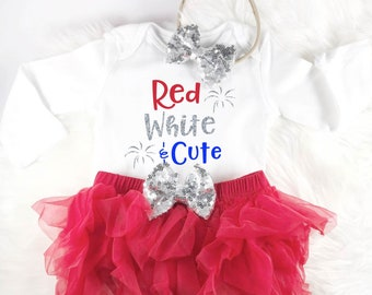 First 4th of july baby outfit, First fourth of july outfit, baby girl outfit, fourth of july outfit, my first fourth, Red White and Cute