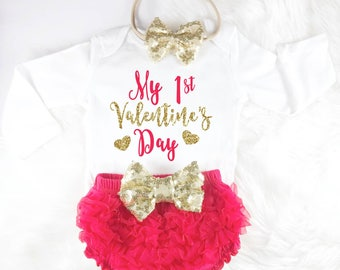 Baby Valentines Outfit Baby Valentines Day My 1st Valentines Day Red Baby Outfit First Valentines Day 1st Valentines Day Baby Girl Outfit