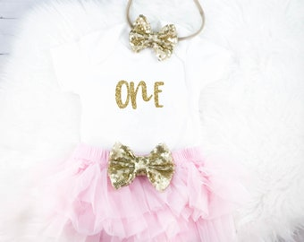 First Birthday Outfit 1st birthday girl 1st birthday outfit cake smash outfit birthday outfit girl first birthday pink and gold
