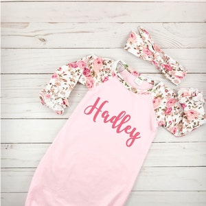 Home from Hospital-Girl Newborn Outfit Newborn Gown Baby Girl Outfit Photo Shoot Shower Gift-Girl Infant Girl Outfit Newborn Dress