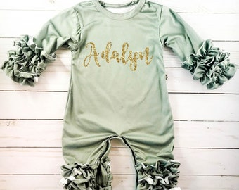 Personalized Newborn Girl Coming Home Outfit Girl Gown Baby Girl Gown Baby  Shower Gift Olive Green Newborn Romper Icing Romper Ruffle e3be6d401