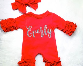 2e18ce701 Personalized Newborn Girl Coming Home Outfit Girl Gown Baby Girl Gown Baby  Shower Gift Red Newborn Romper Icing Romper Ruffle