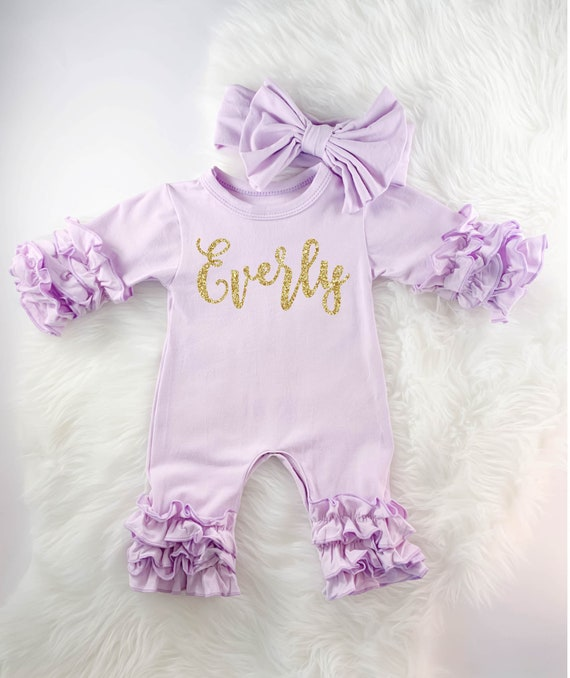 Baby Girl Coming Home Outfit Custom Baby Girl Outfit Newborn Girl Clot Lavender Baby Gown Baby Girl Clothes Personalized Baby Girl Gift