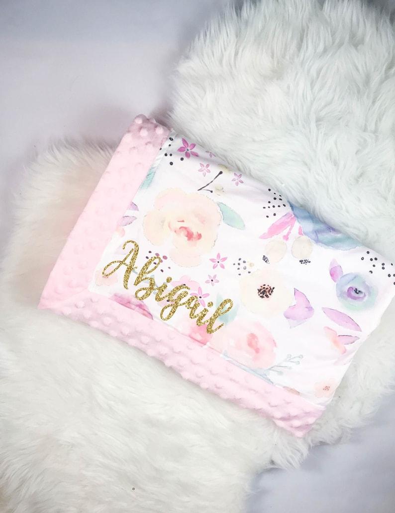 Personalized watercolor baby minky blanket newborn baby etsy