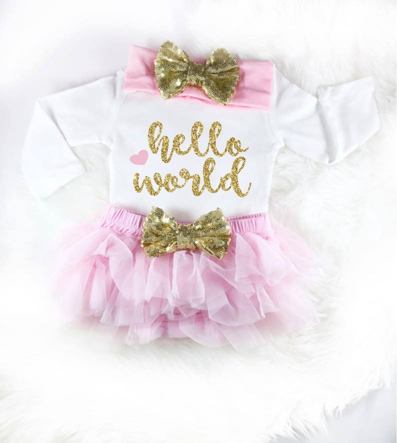 9c4f79ecd Baby Shower Gift Hello World Pink and glitter Hospital Coming   Etsy