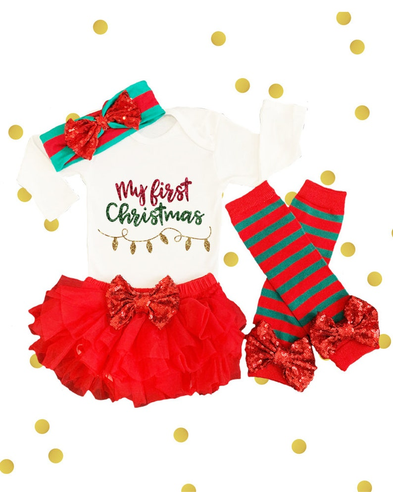 c7a7b0a0e Baby Girl Christmas Outfit Baby First Christmas Outfit My   Etsy