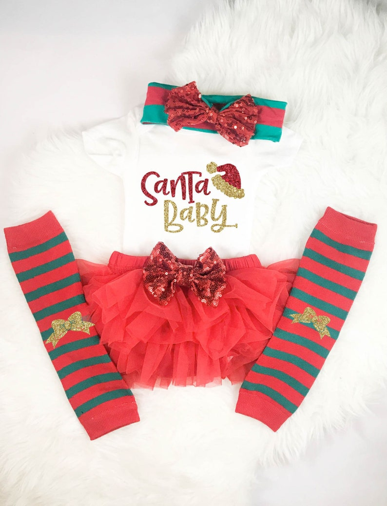 79bf1138 Santa Baby Girl Christmas Outfit Baby's First Christmas | Etsy