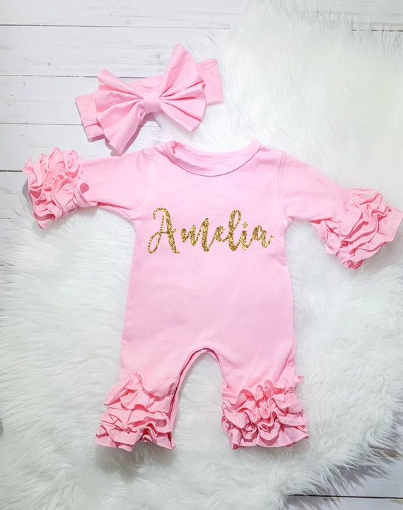 Personalized Baby Girl Knotted Gown Pink Floral Newborn Girl Coming Home Outfit Baby Girl Clothes Baby Shower Gift Girl Take Home Clothing
