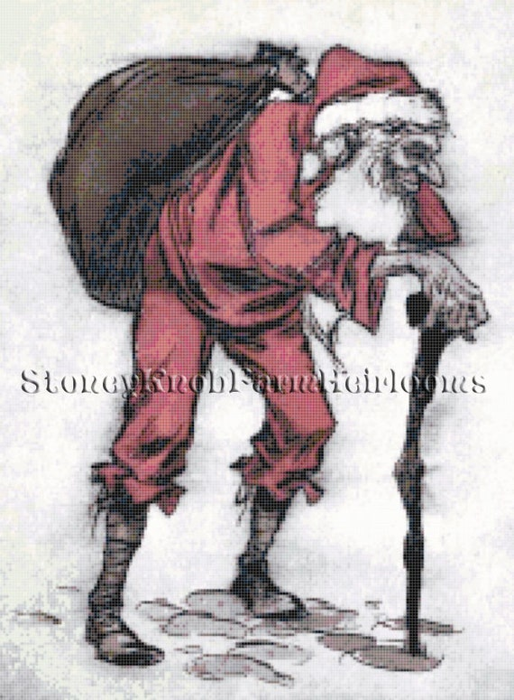 Christmas ~ DIY Counted Cross Stitch Pattern Santa /& Elves ~ Norman Rockwell