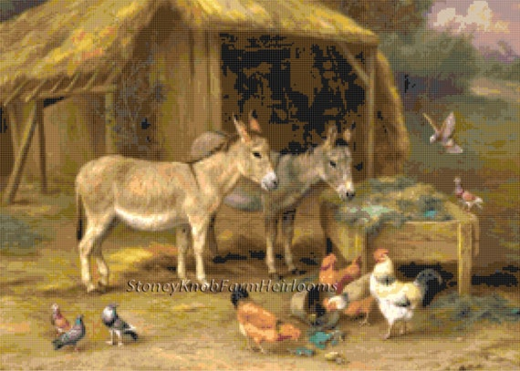 A Pair of Donkeys ~ DIY Counted Cross Stitch Pattern