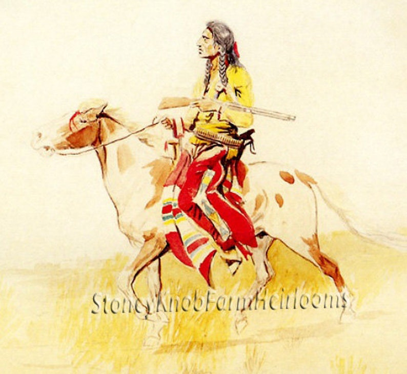 Blackfoot Indian Rider ~ American West ~ DIY 2 Cross Stitch Patterns ~ One  in Color and one in BlackWhite Symbols ~ Digital Download