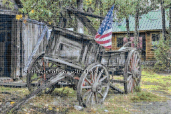 Old Rustic Wooden Wagon U.S Flag ~ DIY Counted Cross Stitch Pattern