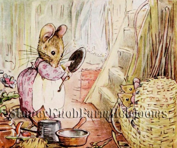 Beatrix Potter Tale of 2 Bad Mice Eating Counted Cross Stitch Chart Pattern