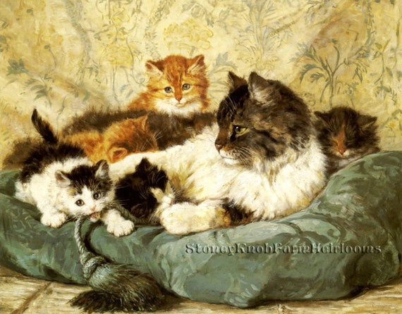 Mother Cat And Her Kittens Cats Kittens Diy Cross Stitch Etsy