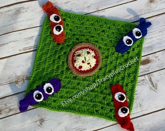 Crochet Ninja security blanket. Ninja lovey blanket. Ninja snuggle blanket. Handmade.