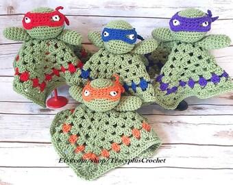 Ninja lovey~Ninja blanket~Ninja security blanket~Crochet Ninja~Crochet Ninja security blanket~Ninja snuggle blanket~Ninja baby~Baby Ninja
