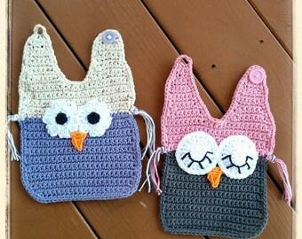 Crochet Cotton Owl baby bibs. Baby Dribble bibs. Owl bibs. 2-Owl bibs. Baby shower gift. Handmade. Cotton bibs.