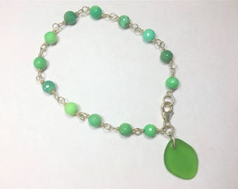 Green Seaglass Bracelet Sterling silver wire wrapped Chrysoprase Eco friendly Surf Tumbled  Sea Glass
