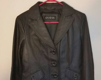 VTG 90s Black Leather Blazer Jacket Black sz M