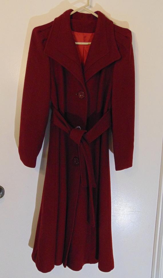 Vintage Cranberry Red Maroon Wool Coat Belted Prin