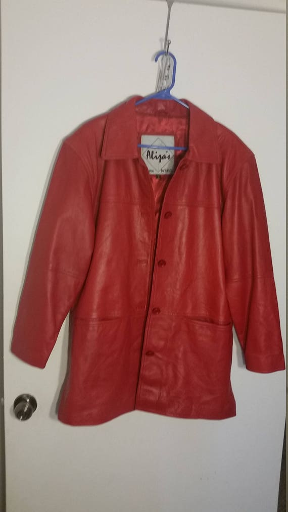 Oversized Red Leather Long Jacket Coat 1980s Mensw