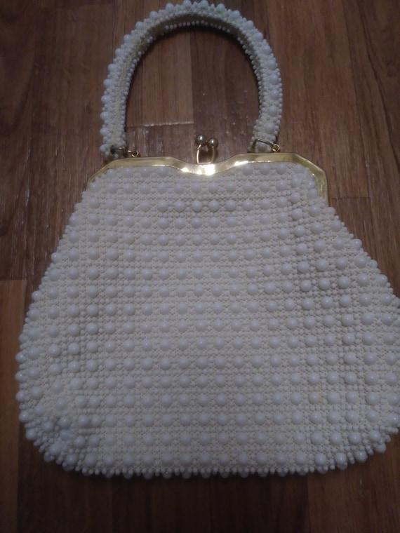 White Beaded Evening Bag 1960s - image 2