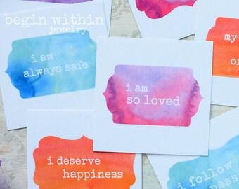 Affirmation Cards | Set of 25 Watercolor Positive Affirmations | Inspirational Card Deck