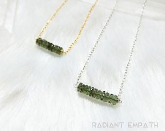 Genuine Moldavite Necklace Gold or Silver   Faceted Moldavite Bar Necklace   Authentic Moldavite Stone Crystal   Tektite Moldavite