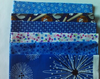 100% cotton fat quarter bundle blue prints