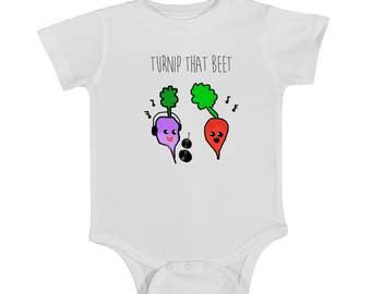 Turnup The Beat, TURNIP THAT BEET, baby onesie, newborn onesie, funny onesie, onsie, baby clothing