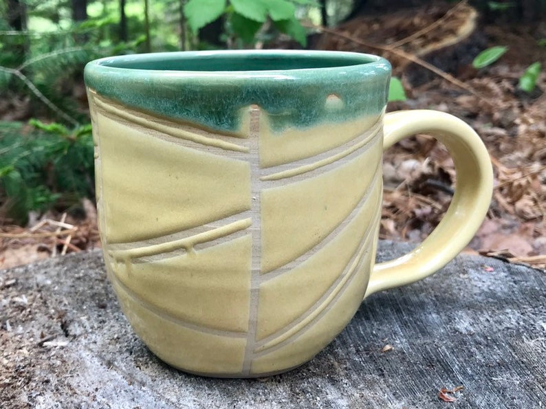 Hand Made Lined Mug in Green and Yellow