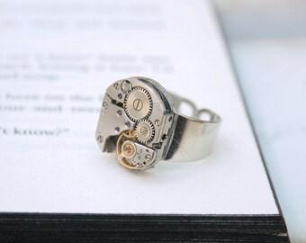 990575d791d5 Anillo para hombre Pinky Steampunk aro   Steampunk Signet   plata Simple  reloj anillo de movimiento