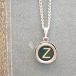 Green Initial Necklace / Monogrammed Pendant Necklace / Personalized Jewelry Typewriter Key Custom Letter Necklace