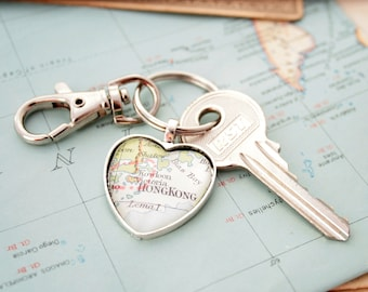 Custom Map Heart Keychain Personalized Jewellery Keyring Gifts for Girlfriend Gift for Wife Heart Map Necklace Custom City Custom Map Gifts