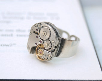 Mens Pinky Ring, Steampunk Ring, Steampunk Signet, Simple Silver Watch Movement Ring for Birthday