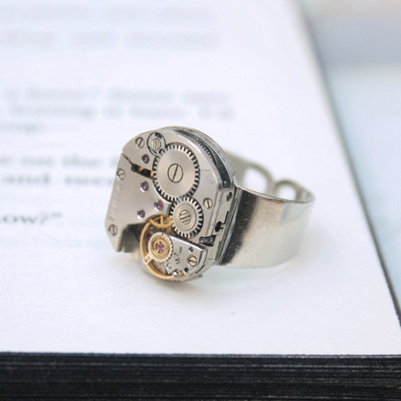 Mens Pinky Ring Steampunk Ring Steampunk Signet Simple Rounded rectangle